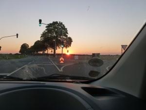 Atardecer dorado en la carretera